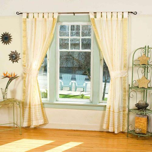 Indo Cream Tab Top Sari Sheer Curtain (43 in. x 84 in.) with matching tieback