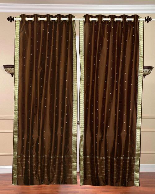 Brown Ring Top  Sheer Sari Curtain / Drape / Panel  - Piece