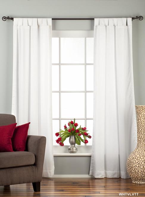 "White Tab Top Velvet  Curtain / Drape / Panel  - 84"" - Piece"