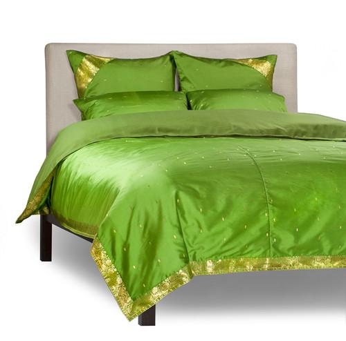 Forest Green-5 Piece  Sari Duvet Cover Set w/ Pillow Covers/Euro Sham