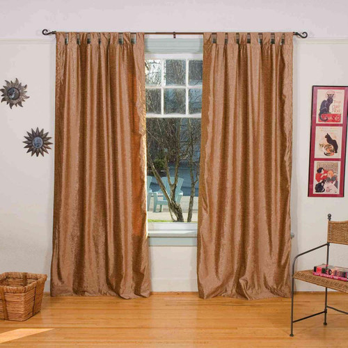 Taupe - Tab Top Velvet Curtain / Drape / Panel 43 X 84 Inches - Piece