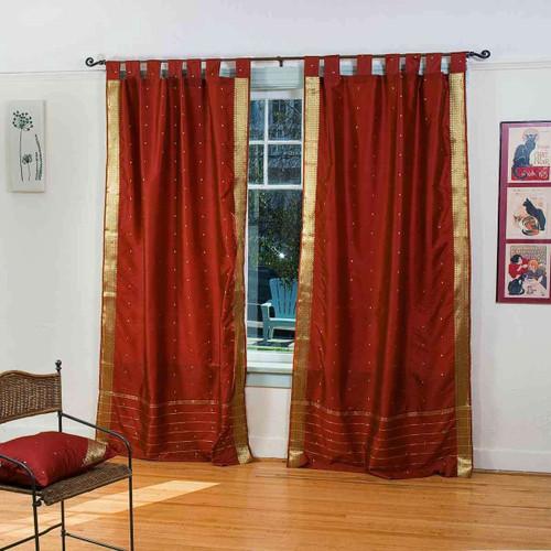 Rust  Tab Top  Sheer Sari Curtain / Drape / Panel  - Pair