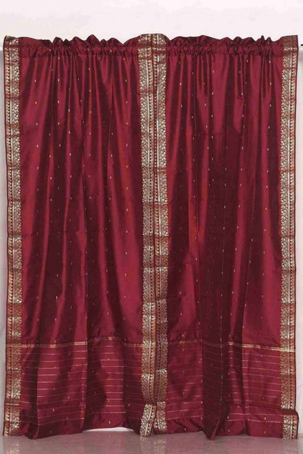 Maroon Rod Pocket  Sheer Sari Curtain / Drape / Panel  - Pair