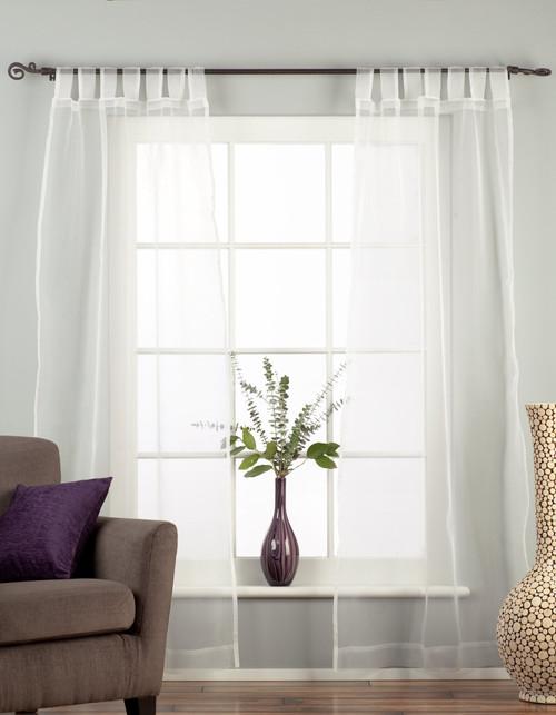 "White Tab Top Sheer Tissue  Curtain / Drape / Panel  - 84"" - Piece"