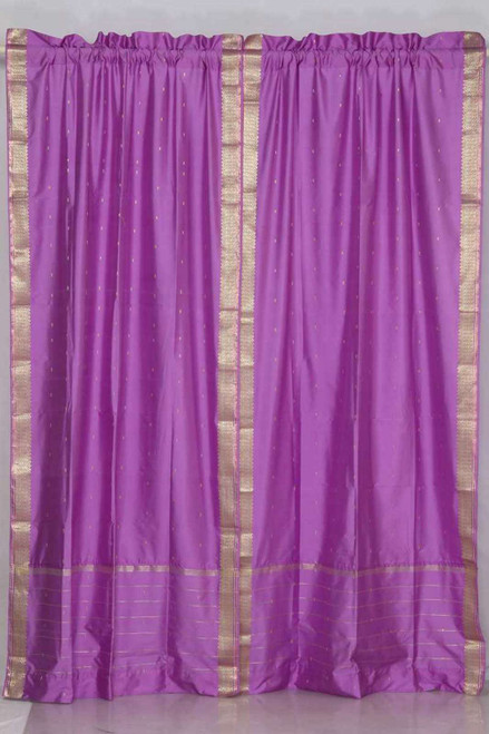 Lavender Rod Pocket  Sheer Sari Curtain / Drape / Panel  - Pair