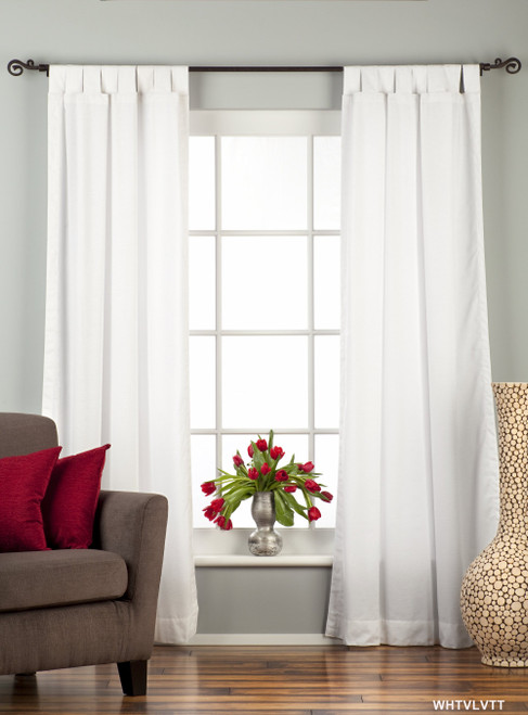 White Tab Top  Velvet Curtain / Drape / Panel  - Piece
