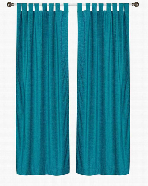 Turquoise Tab Top  Velvet Curtain / Drape / Panel  - Piece