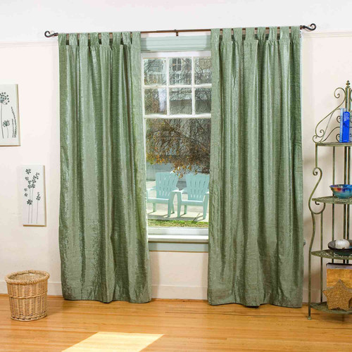 Olive Green Tab Top  Velvet Curtain / Drape / Panel  - Piece