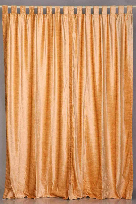 Peach Tab Top  Velvet Curtain / Drape / Panel  - Piece