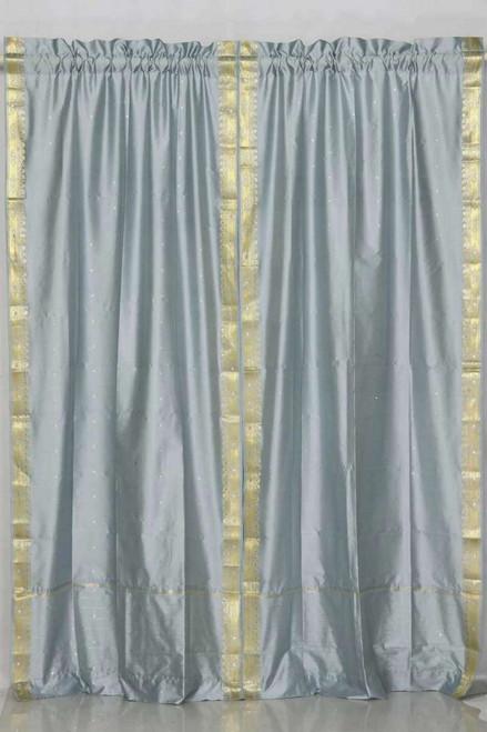 Gray Rod Pocket  Sheer Sari Curtain / Drape / Panel  - Pair