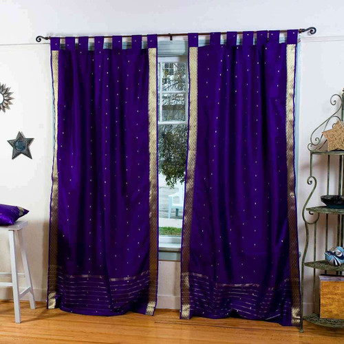 Purple  Tab Top  Sheer Sari Curtain / Drape / Panel  - Pair