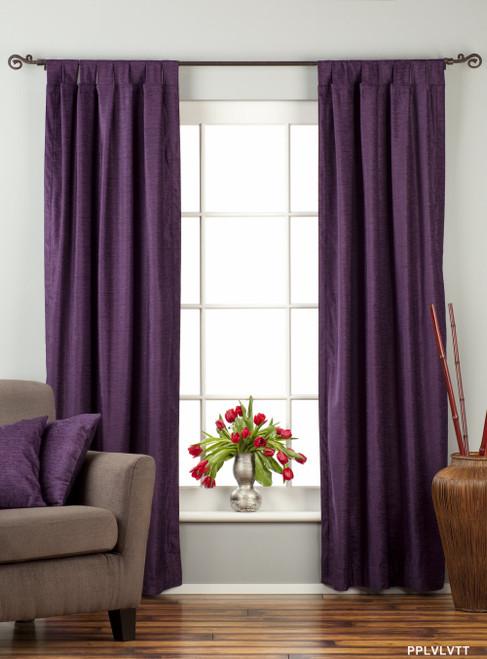 Purple Tab Top  Velvet Curtain / Drape / Panel  - Piece