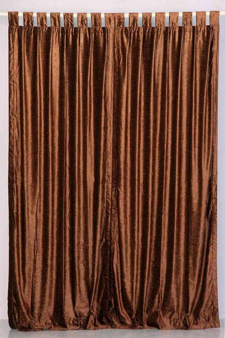 Brown Tab Top  Velvet Curtain / Drape / Panel  - Piece