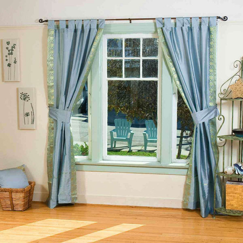 Indo Gray Tab Top Sari Sheer Curtain (43 in. x 84 in.) with matching tieback