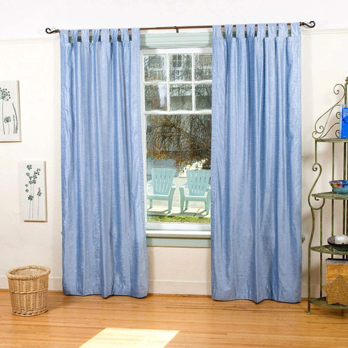 Light Blue Tab Top  Velvet Curtain / Drape / Panel  - Piece