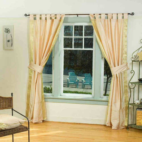 Indo Golden  Tab Top Sari Sheer Curtain (43 in. x 84 in.) with matching tieback