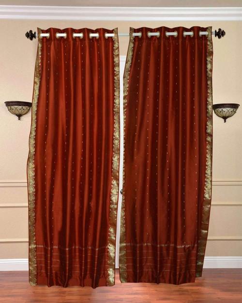 Rust Ring Top  Sheer Sari Curtain / Drape / Panel  - Piece
