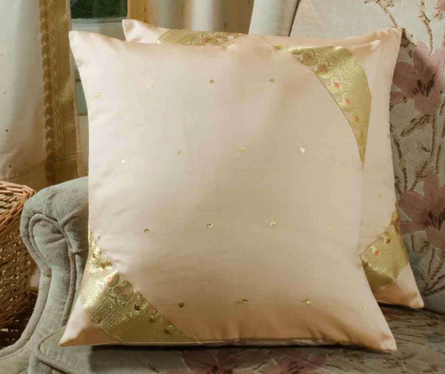Gold-Decorative handcrafted Cushion Cover, Throw Pillow case Euro Sham-6 Sizes