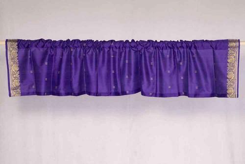 Purple - Rod Pocket Top It Off handmade Sari Valance - Pair