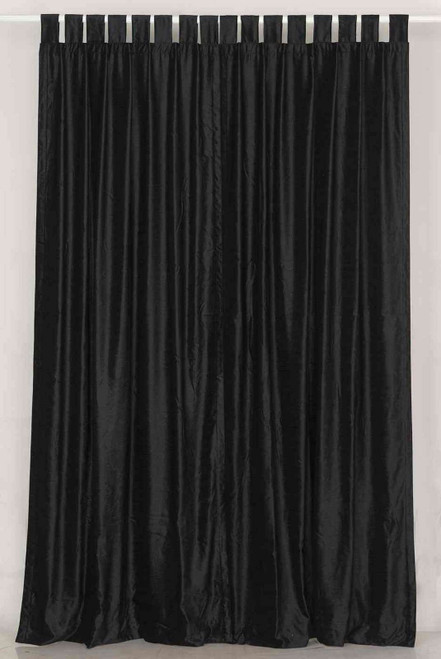Black Tab Top  Velvet Curtain / Drape / Panel  - Piece