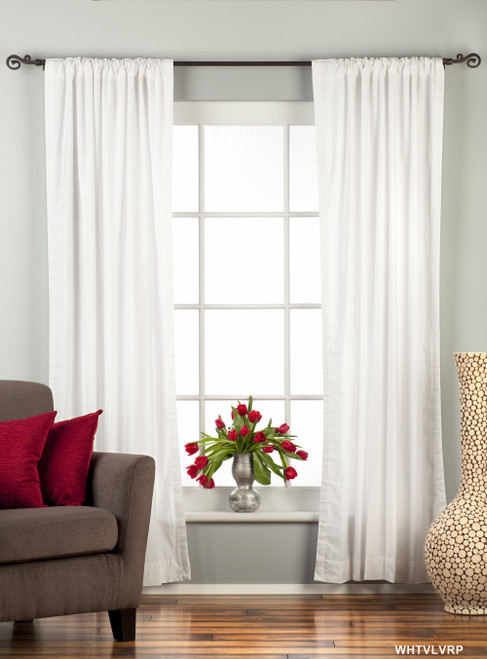 White Rod Pocket  Velvet Curtain / Drape / Panel  - Piece