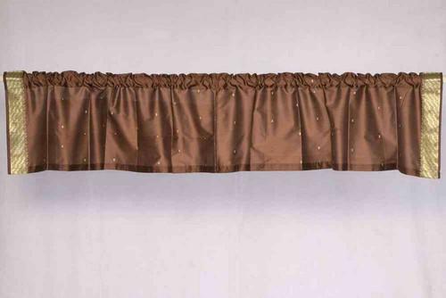 Brown - Rod Pocket Top It Off handmade Sari Valance - Pair