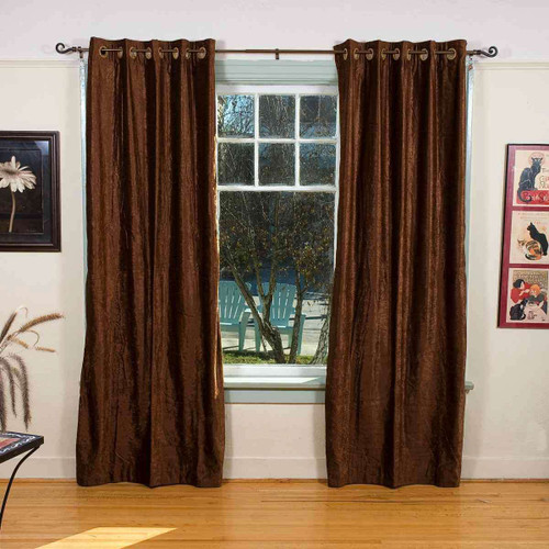 Brown Ring / Grommet Top  Velvet Curtain / Drape / Panel  - Piece