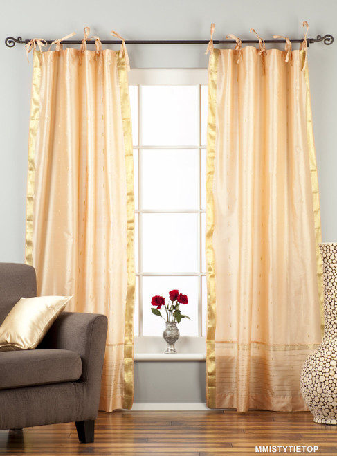 Misty Rose  Tie Top  Sheer Sari Curtain / Drape / Panel  - Piece