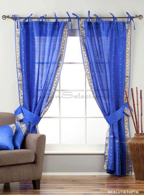 Indo  Blue Tie Top Sheer Sari Curtain Drape Panel 43x84 in w/ matching tieback