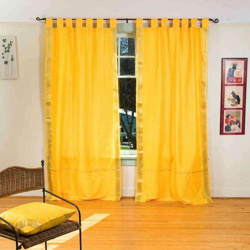 Yellow  Tab Top  Sheer Sari Curtain / Drape / Panel  - Piece