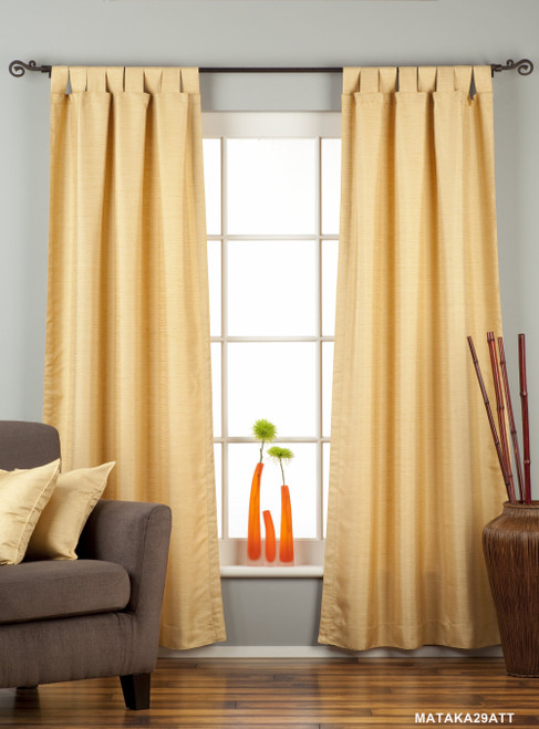 Golden Tab Top Matka Raw Silk Curtain / Drape / Panel - Piece