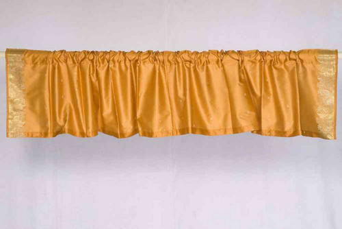 Pumpkin - Rod Pocket Top It Off handmade Sari Valance - Pair