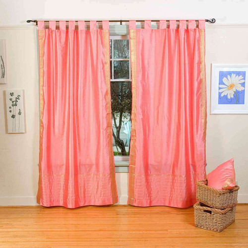 Pink  Tab Top  Sheer Sari Curtain / Drape / Panel  - Pair