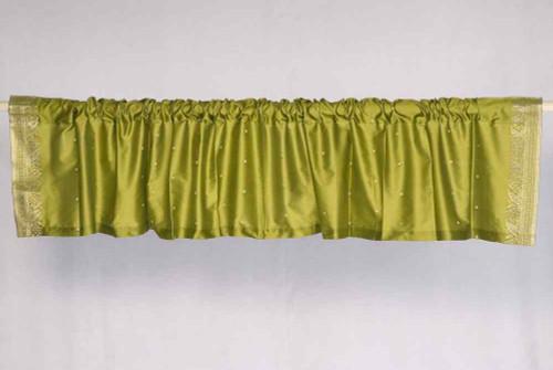 Olive Green - Rod Pocket Top It Off handmade Sari Valance - Pair