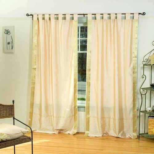 Golden  Tab Top  Sheer Sari Curtain / Drape / Panel  - Piece