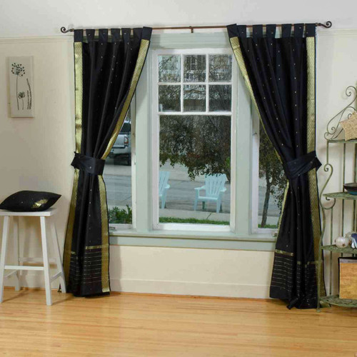 Indo Black Tab Top Sari Sheer Curtain (43 in. x 84 in.) with matching tieback