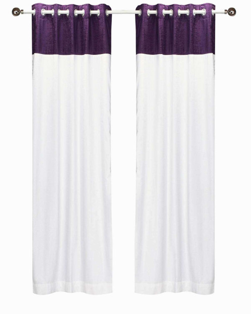 Signature White and Purple ring top velvet Curtain Panel - Piece