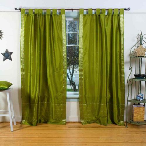 Olive Green  Tab Top  Sheer Sari Curtain / Drape / Panel  - Piece