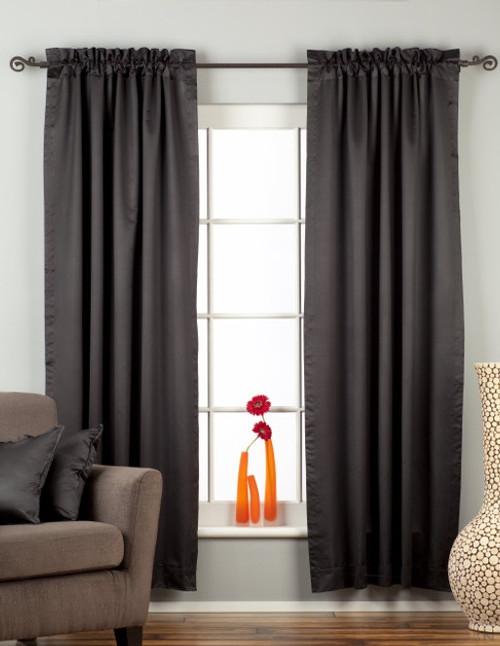 Black Rod Pocket 90% blackout Curtain / Drape / Panel  - Piece