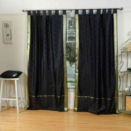 Black  Tab Top  Sheer Sari Curtain / Drape / Panel  - Piece