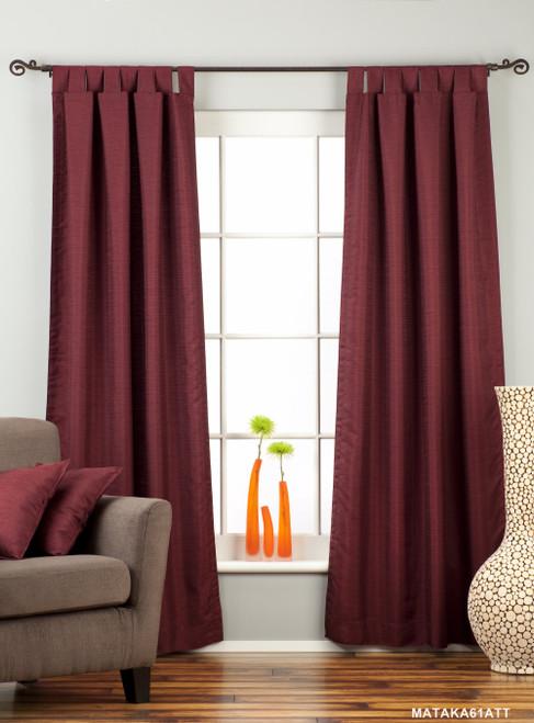 Dark Maroon Tab Top Matka Raw Silk Curtain / Drape / Panel - Piece