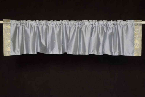 Gray - Rod Pocket Top It Off handmade Sari Valance - Pair