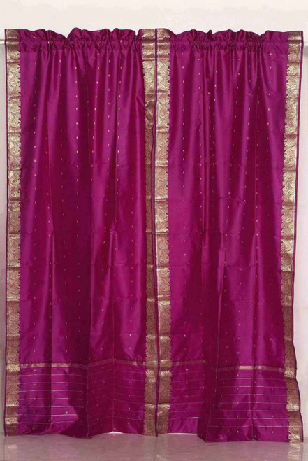 Indo Violet red Rod Pocket Sari Sheer Curtain 43 in. x 84 in. - Piece
