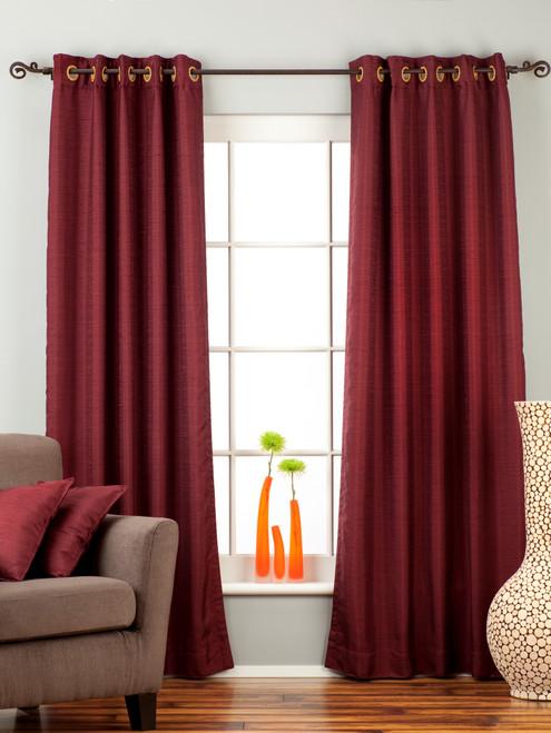 Dark Maroon Ring Top Matka Raw Silk Curtain / Drape / Panel - Piece
