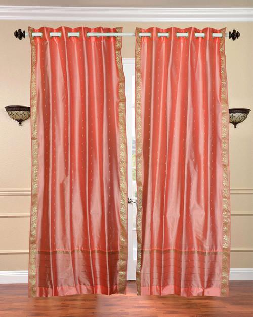 Peach pink Ring Top  Sheer Sari Curtain / Drape / Panel  - Piece