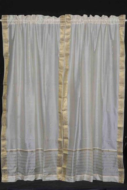 Cream Rod Pocket  Sheer Sari Curtain / Drape / Panel   - 43W x 84L - Piece