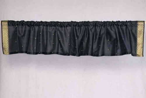 Black - Rod Pocket Top It Off handmade Sari Valance - Pair