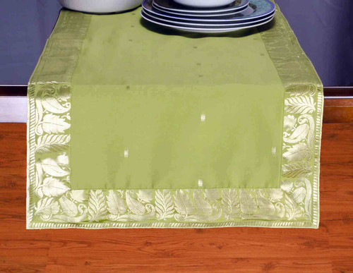 Olive Green - Hand Crafted Table Runner (India)