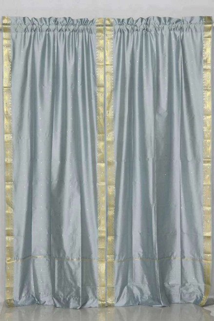 Gray Rod Pocket  Sheer Sari Curtain / Drape / Panel  - Piece