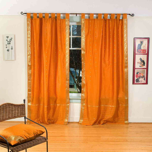 Mustard  Tab Top  Sheer Sari Curtain / Drape / Panel  - Pair